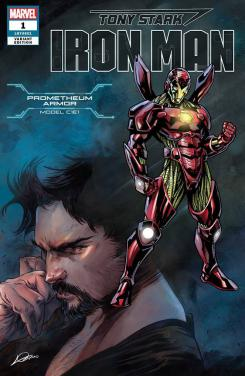 Portada alternativa de Iron Man #1 (junio 2018), la Prometheum Armor (modelo C1E1)