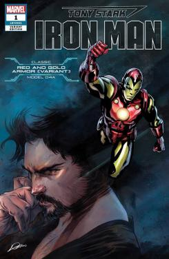 Portada alternativa de Iron Man #1 (junio 2018), la variate de la Red and Gold Armor (modelo 04A