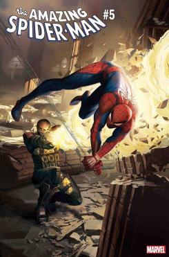 Portada alternativa de Amazing Spider-Man #5, versión del juego Spider-Man, por Daryl Mandryk — Homenaje a Amazing Spider-Man #46 por John Romita
