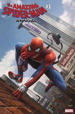 Portada alternativa de Amazin Spider-Man Annual #1, versión del juego Spider-Man, por Dennis Chan — Homenaje a Amazing Spider-Man #546 por Steve McNiv