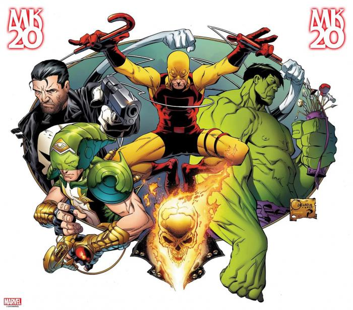 Imagen promocional de Marvel Knights MK20, arte por Joe Quesada/Richard Isanove