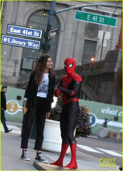 Imagen del set de Spider-Man: Lejos de Casa en el rodaje en la ciudad de Nueva York