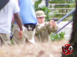 Imagen del set de Iron Man 3 (2013) en Epic Games, Cary, Carolina del Norte