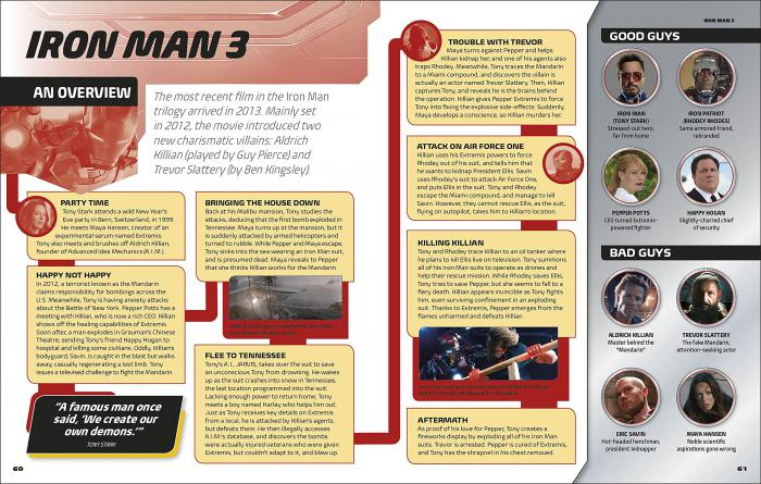 Evidencia del año de Iron Man 3 en el libro Marvel Studios All Your Questions Answered