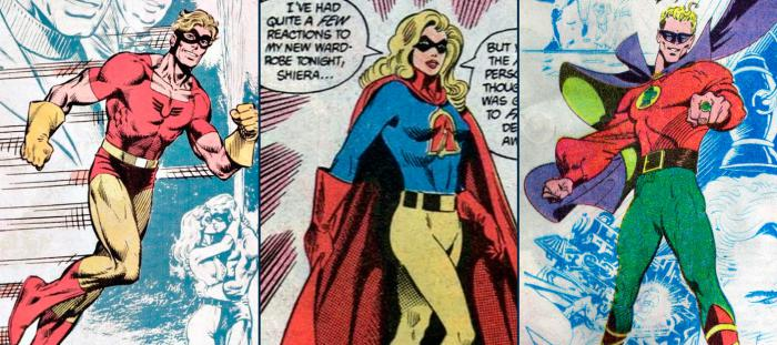 Imagen de Johnny Quick, Liberty Belle y Alan Scott en los cómics