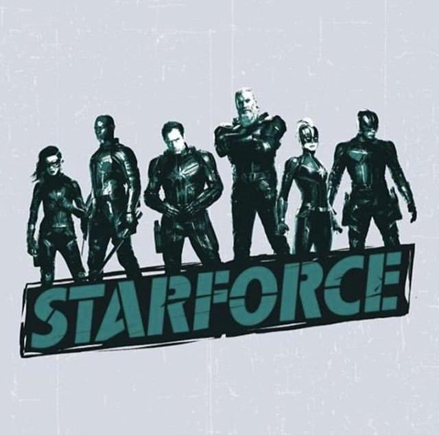 Los Starforce en promo art e Capitana Marvel (2018)
