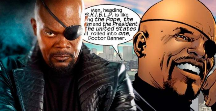 Samuel L. Jackson como Nick Fury y Ultimate Nick Fury en cómic The Ultimates