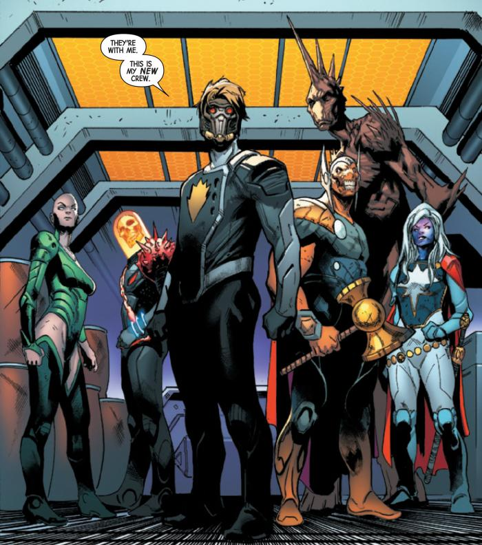Nuevo equipo de Guardianes de la Galaxia en Guardians of the Galaxy #1