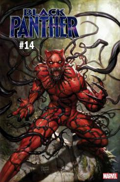 Portada alternativa inspirada en Absolute Carnage de Black Panther #14 por Ryan Brown