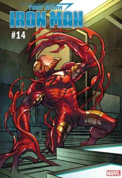Portada alternativa inspirada en Absolute Carnage de Tony Stark: Iron Man #14 por Pasqual Ferry