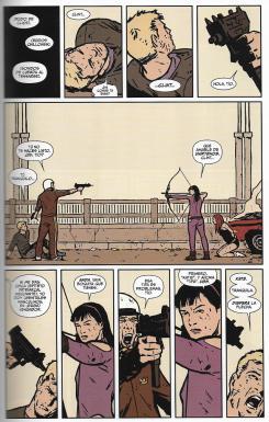 Marvel Integral. Ojo de Halcón de Matt Fraction y David Aja. Página de muestra.