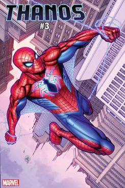 Portada alternativa de Thanos #3, por Nick Bradshaw And Morry Hollowell dedicada a Spider-Man