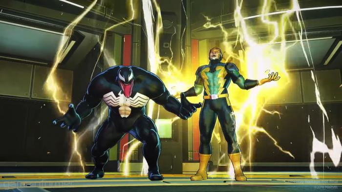Electro y Venom en Marvel Ultimate Alliance 3