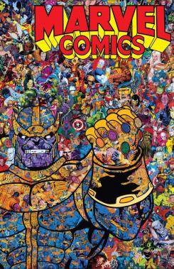 Portada alternativa Marvel Comic #1001, collage de Thanos y personajes de Marvel, arte de Mr. Garcin