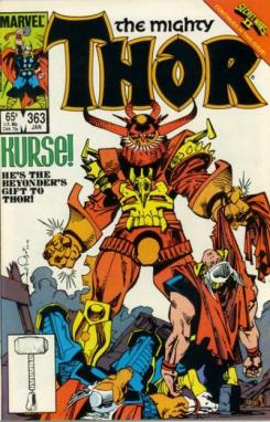 Portada del cómic The Mighty Thor #363 (Enero 1986)