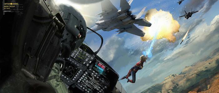 Arte conceptual de Capitana Marvel (2019), por Aleksi Briclot