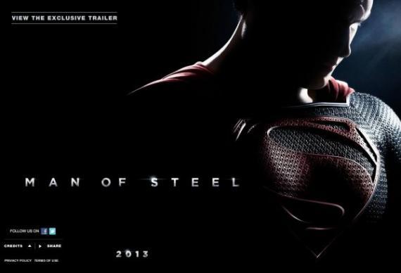 Captura de la web oficial de Man of Steel (2013)