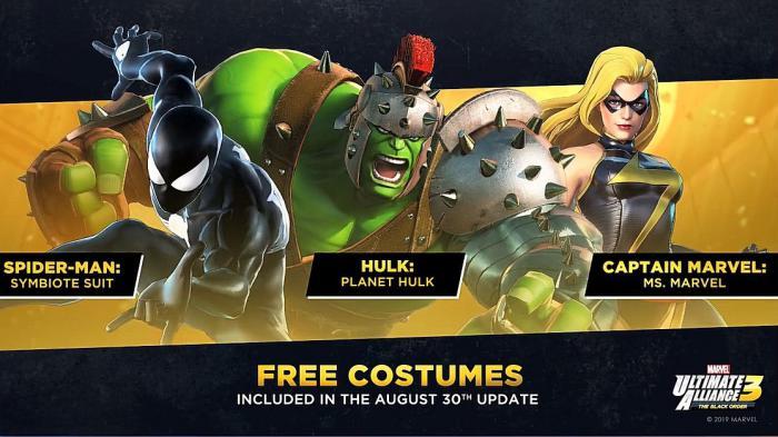 Trajes en el primer DLC gratuito del juego Marvel Ultimate Alliance 3: The Black Order