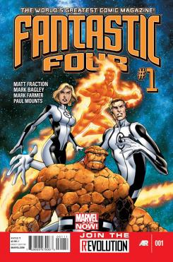 Portada del cómic Fantastic Four #1, de Matt Fraction y Mark Bagley