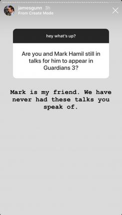 James Gunn sobre Mark Hamill en Guardianes de la Galaxia vol. 3
