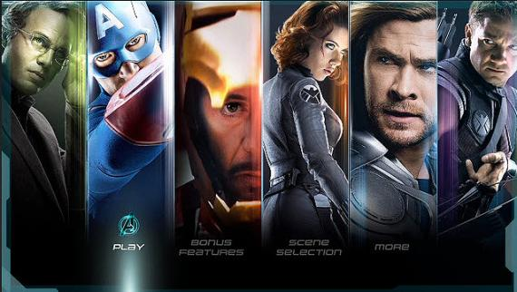 Captura del menú del Blu-ray de The Avengers para Estados Unidos