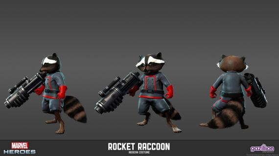 Concept art: Model Sheet de Rocket Raccoon (aspecto clásico) del videojuego Marvel Heroes
