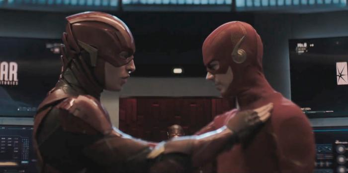Imagen del cameo del Flash de Ezra Miller en Arrow 8x08: Crisis on Infinite Earths: Part Four