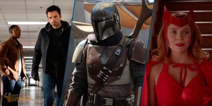 Montaje de The Falcon and the Winter Soldier, The Mandalorian y WandaVision