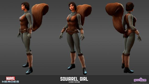 Concept art: Model Sheet de Squirrel Girl (aspecto clásico) del videojuego Marvel Heroes