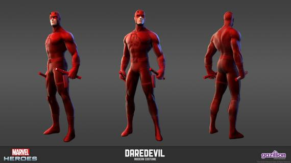 Concept art: Model Sheet de Daredevil (aspecto clásico) del videojuego Marvel Heroes