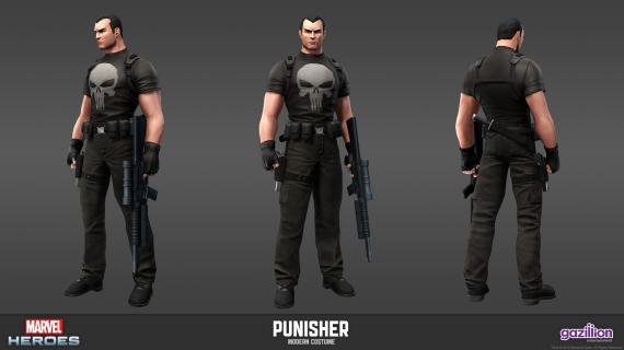 Concept art: Model Sheet de Punisher (aspecto clásico) del videojuego Marvel Heroes