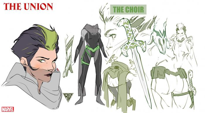 Diseño del personaje The Choir para The Union #1, por R.B. Silva