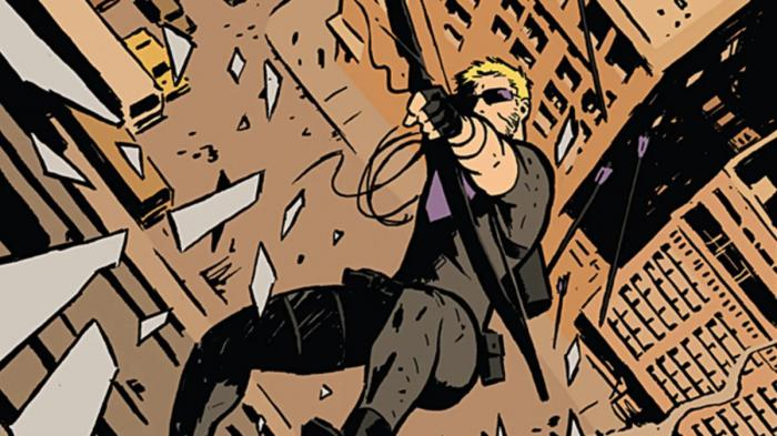 Imagen del cómic Hawkeye de Matt Fraction y David Aja