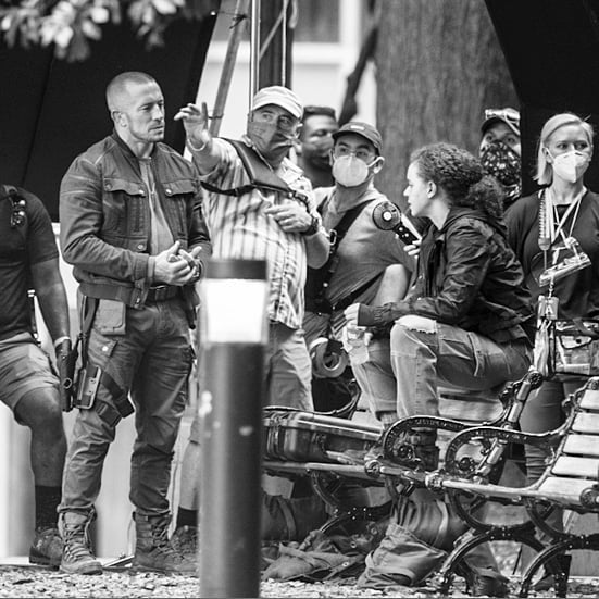 George St. Pierre y Erin Kellyman rodando The Falcon and the Winter Soldier en Woodruff Park, Atlanta, GA