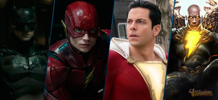 Montaje de The Batman, The Flash, Shazam y Black Adam