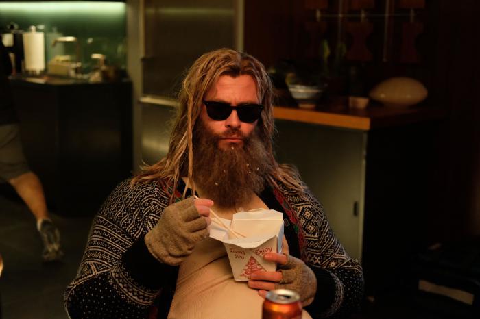 Chris Hemsworth como Bro Thor en el set de rodaje de Vengadores: Endgame (2019)