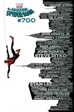 Portada alternativa del comic Spider-Man #700, por Marcos Martin celebrando el 50 aniversario